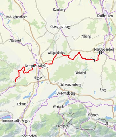 Karte / Allgäuradweg  - Etappe Marktoberdorf - Buchenberg
