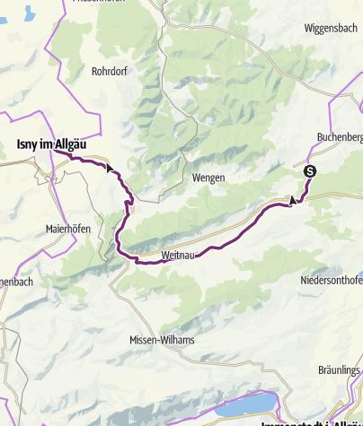 Karte / Allgäuradweg - Etappe Buchenberg-Isny