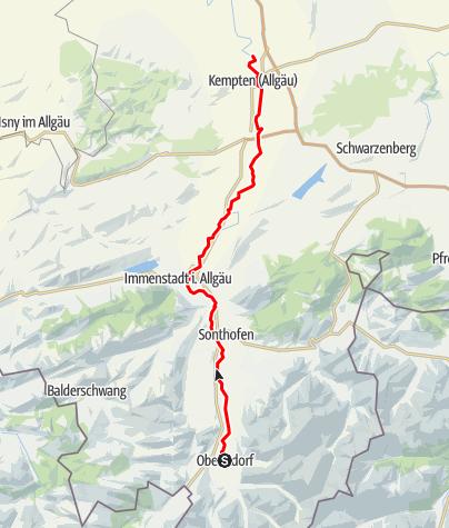 Karte / Illerradweg  - Etappe Oberstdorf-Kempten