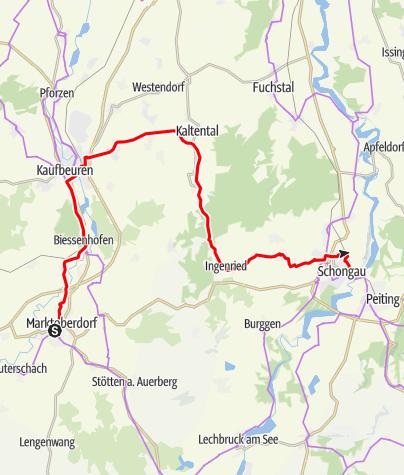 Karte / Allgäuradweg  - Etappe Buchenberg – Marktoberdorf