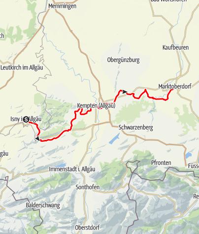 Karte / Allgäuradweg - Etappe Isny - Buchenberg