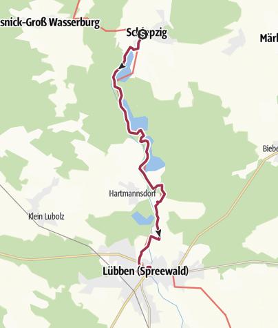 """Karte / """"Paul-Gerhardt-Weg"""" von Schlepzig - Lübben (Spreewald)"""