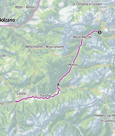 Map / FIEMME AND FASSA DOLOMITES CYCLING ROUTE