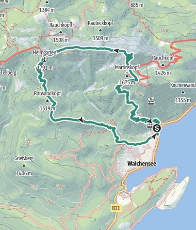 Karte / Bergrunde von Walchensee über den Herzogstand und Heimgarten