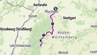 Karte / Radweg entlang der Klosterroute Nordschwarzwald - Gesamtstrecke