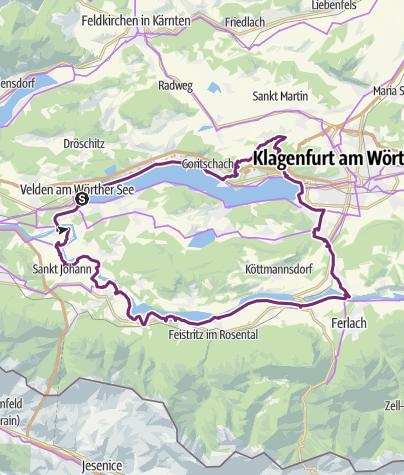 Karte / Graveltour Velden-Drauradweg-Klagenfurt-Velden