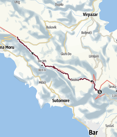 Map / Sutorman pass - Lovački dom (Via Dinarica day 181)   Blue Trail in Montenegro   PPT stage 3