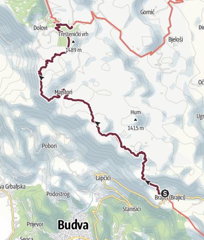 Map / Brajici - Ivanovo Korita (Via Dinarica day 183)   Blue Trail in Montenegro   PPT stage 5
