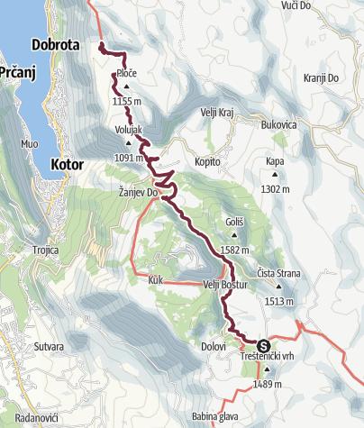 Mapa / Ivanova Korita - Velji Zalazi (Via Dinarica day 184)   Blue Trail in Montenegro   PPT stage 6