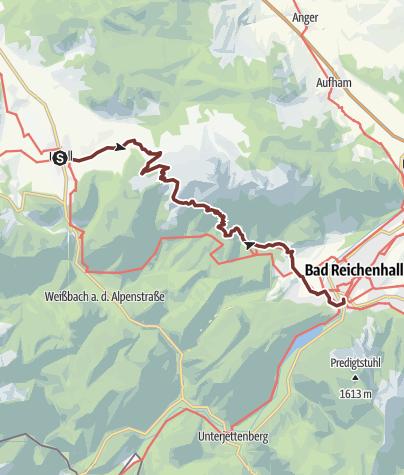 Karte / St. Rupert Pilgerweg Etappe 06a (Alpine Variante): Inzell-Bad Reichenhall