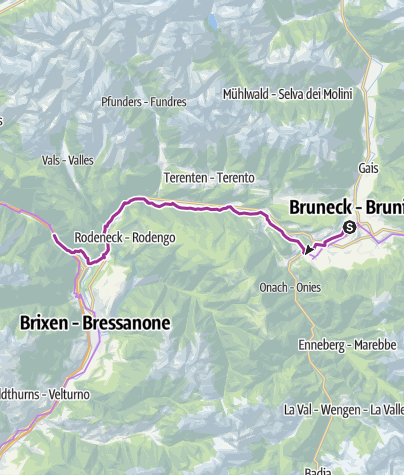 Karte / Fahrradroute Pustertal Etappe Bruneck - Franzensfeste