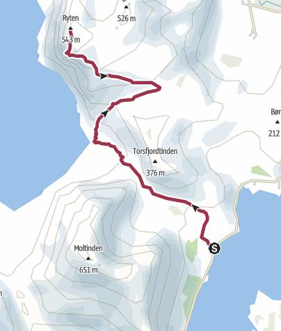 Map / Hike to Ryten viewpoint, Kvalvika beach, Lofoten