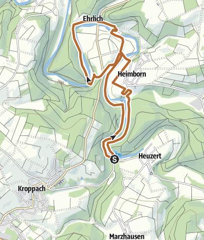 "Karte / Nordic-Walking-Tour Heuzert ""Enten-Ley-Runde"" 7,5 km"