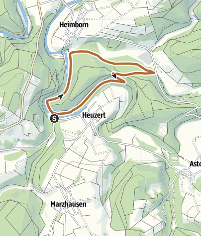 """Karte / Nordic-Walking-Tour Heuzert """"Holdinghauser-Weg"""" 4,3 km"""