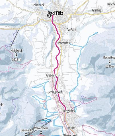 Karte / Winterwanderung: Isarweg nach Lenggries und zurück