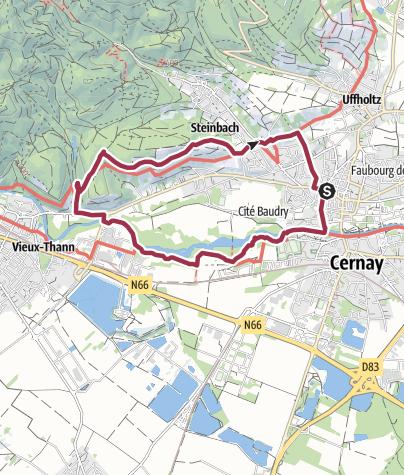 Carte / Biotope de la Thur et vignoble de Steinbach