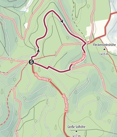 "Karte / Mespelbrunn:  Rundwanderung ab Hohe Wart Haus ""Blauer Pilz"" - Tourenvorschlag auf Wandertafel am Hohe Wart Haus"