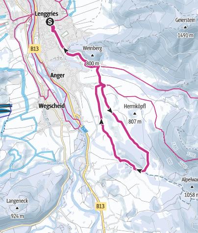 Karte / Winterwanderung: Mühlbach-Lasseln-Holz-Runde