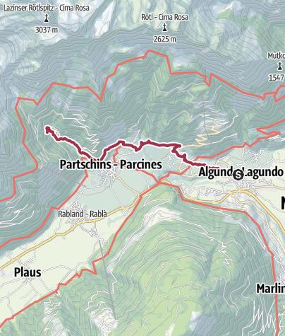 Mappa / Da Lagundo alla cascata di Parcines