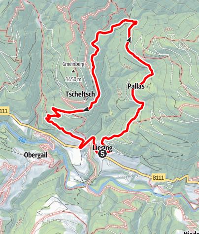 Karte / Panoramawanderung Assing - Ladstatt - Tscheltsch - Kebas - Liesing