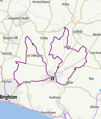 Map / Tour de Lewes Sun 1st June 2014