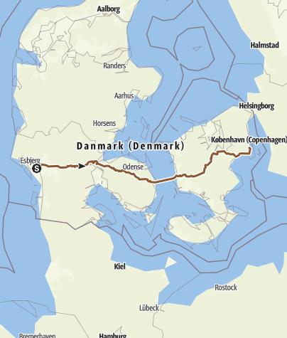 Map / Esbjerg - København (Nationale Cykelruter 6)