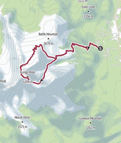 Map / Rocky Mountain National Park: Longs Peak via Clark's Arrow and the Keyhole