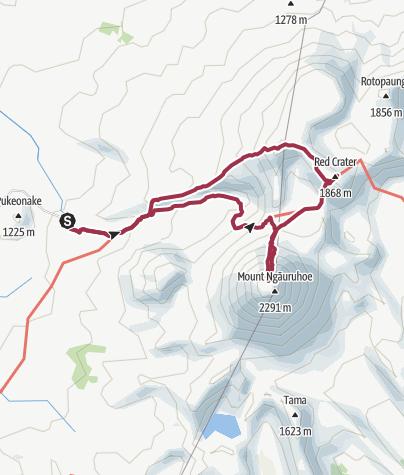 Map / Tongariro National Park, NZ: Mount Ngauruhoe and Mount Tongariro