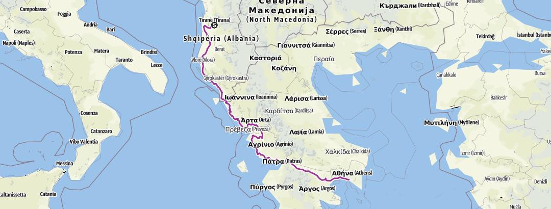 Map / EUROVELO 8 Tirana-Athens