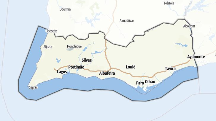 Mapa / Percursos de ciclismo de estrada em Faro