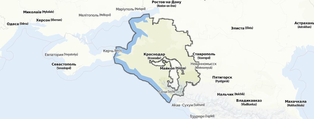 Kartta / Vuoristovaellusreitit kohteessa Krasnodar Krai