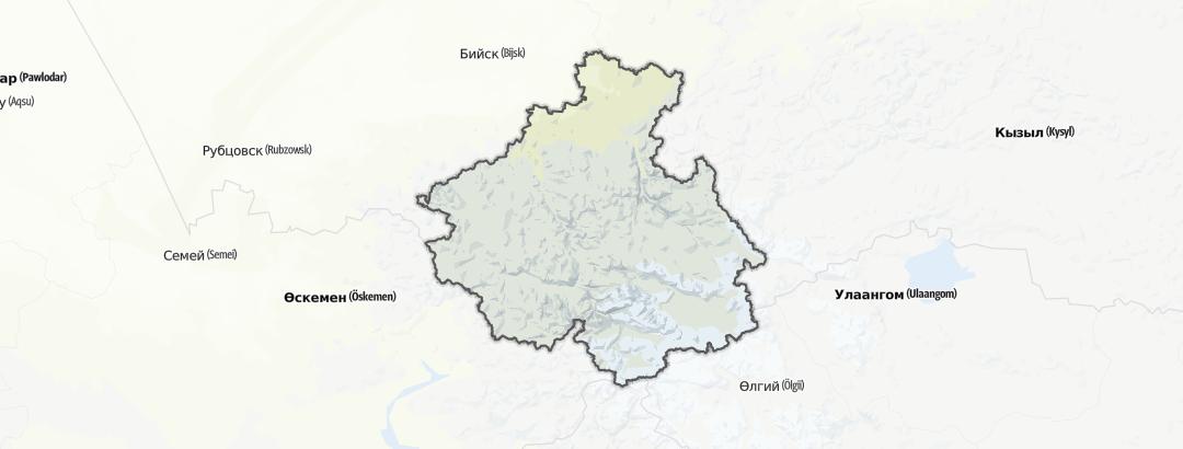 Mapa / Výšlapy v oblasti Республика Алтай