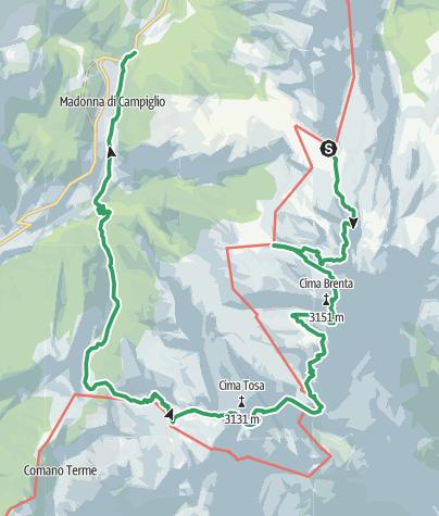 Karte / Via delle Bocchette - Die Brentadurchquerung