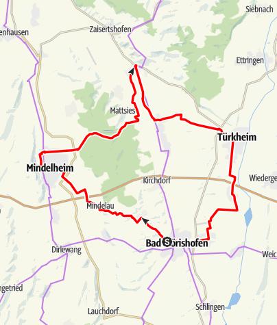 Karte / Aktiv Park Tour Ost - Abkürzung Bad Wörishofen
