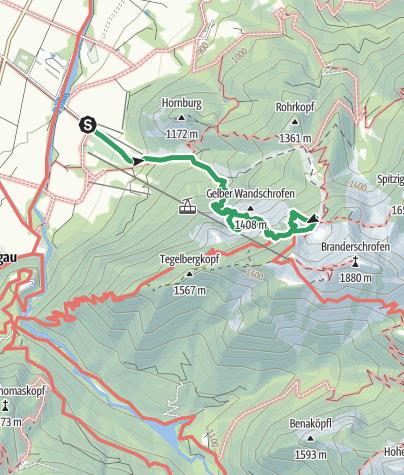 Karte / Große Klettersteigrunde am Tegelberg