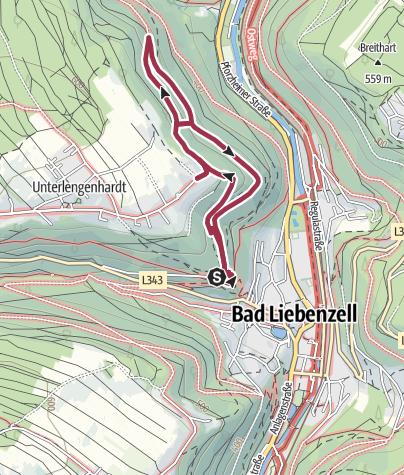 Karte / GeoTour Bad Liebenzell Felsen, Klüfte und eine Burg