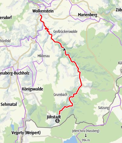 Karte / Preßnitztalradweg - Mit der Eisenbahn um die Wette