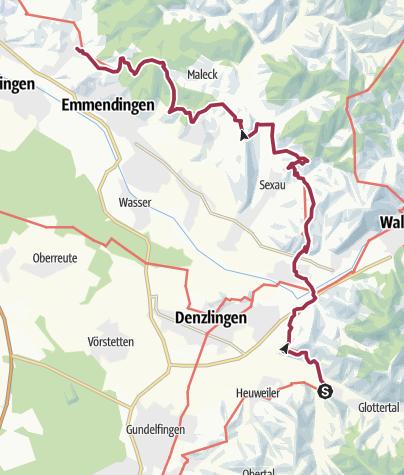 Mapa / Breisgauer Weinweg 2. Etappe Glottertal/Föhrental, Hotel Kreuz nach Mundingen