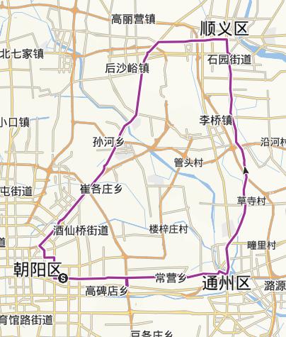 地图 / 北京朝阳区、顺义区骑行路线
