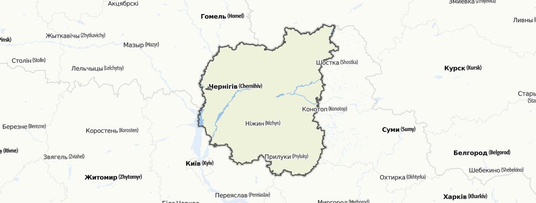 מפה / Чернігівська область