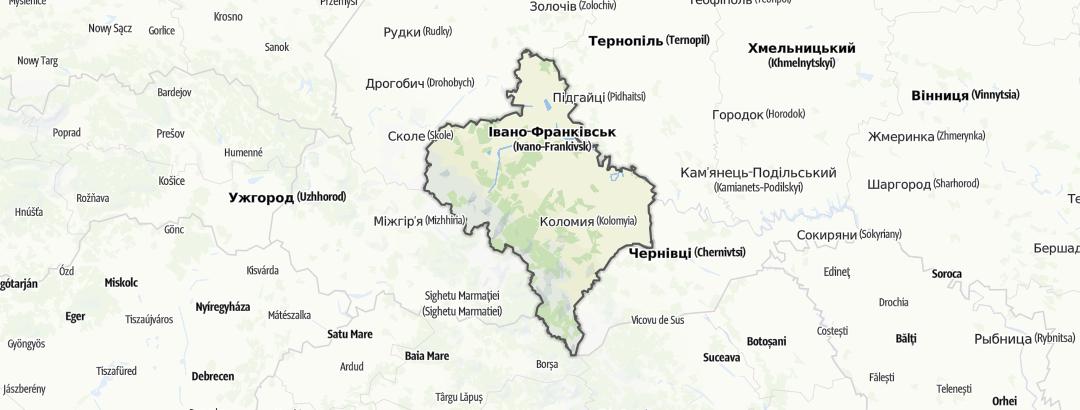 Carte / Randonnées technique - Івано-Франківська область
