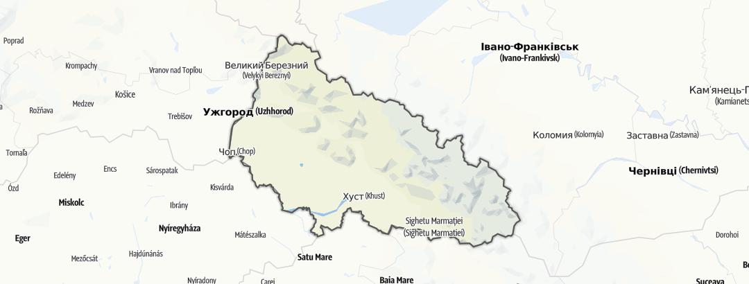 מפה / Закарпатська область