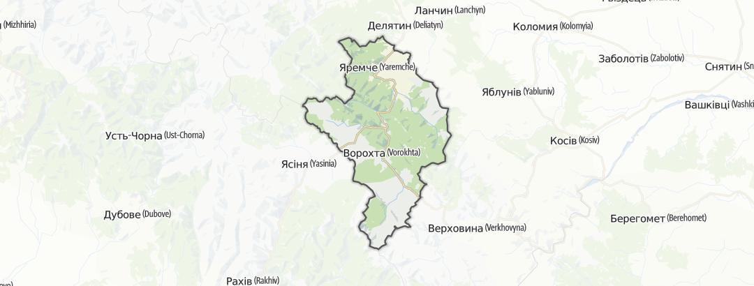 Mapa / Trilhas de Montanha em Яремчанська міська рада