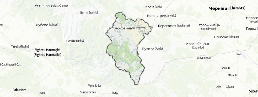 מפה / טיפוס הרים ברחבי Верховинський район
