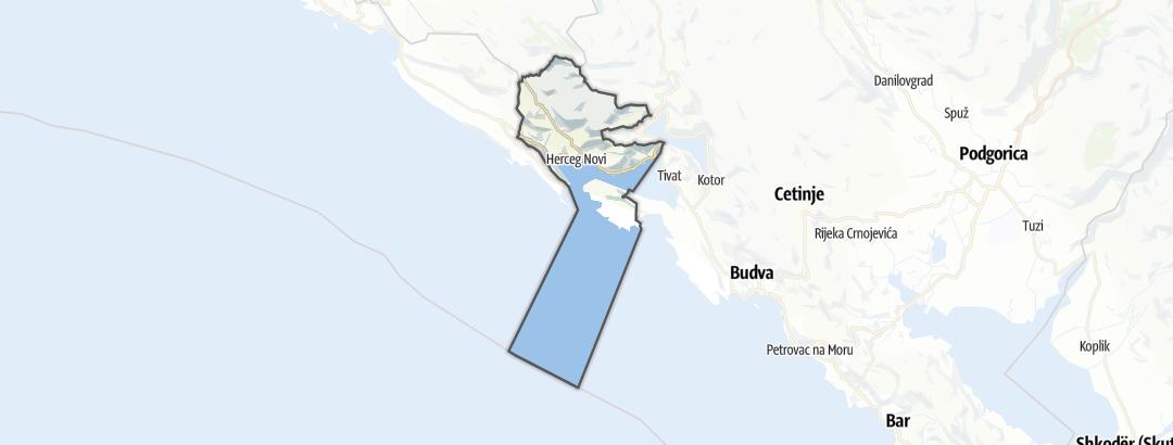 Mapa / Caminhadas de longa distância em Opština Herceg Novi
