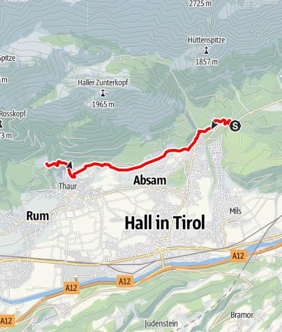 Karte / Verbindungsstrecke Bogner Aste - Thaur