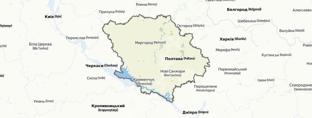 מפה / Полтавська область