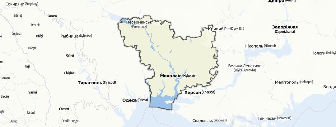 מפה / Миколаївська область