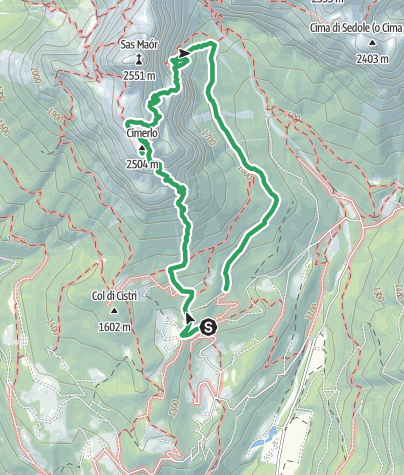 Karte / Ferrata dino buzzati cimerlo - sentiero dei cacciatori