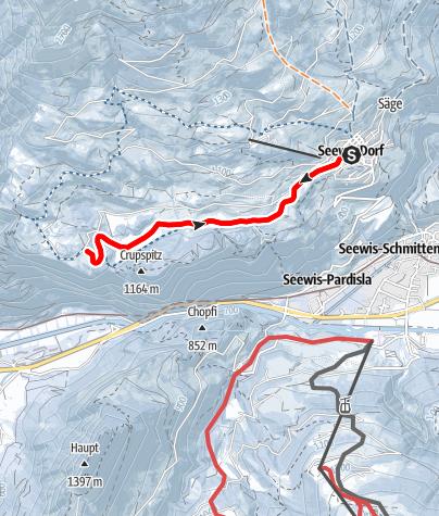 Map / Winterwanderweg durchs Seewiser Islatal nach Fadära